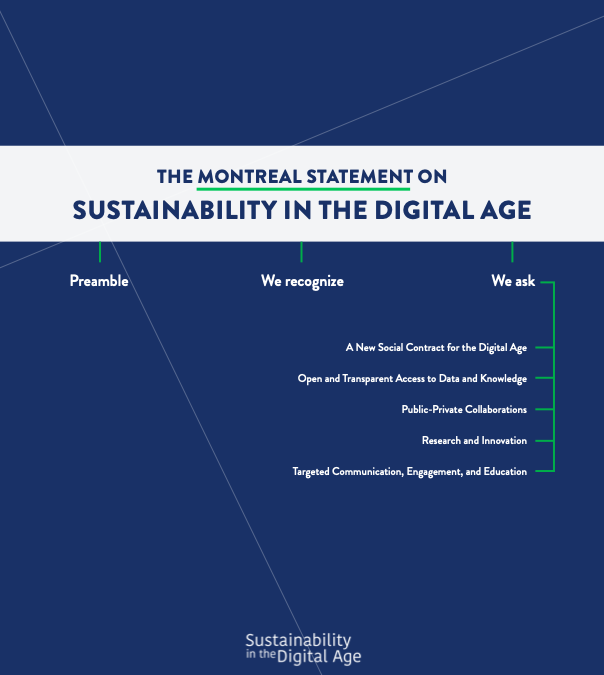 Announcing Launch of the Montreal Statement on Sustainability in the Digital Age